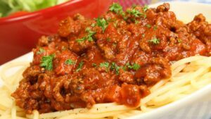 Spaghetti Bolognese with parsley